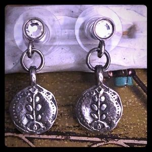 Silpada Sterling Silver Floral Disc Earrings